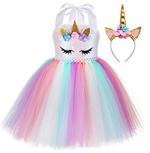 Birthday Party Unicorn Sequins Costume for Toddler Girls Halloween Rainbow Tutu Dress Outfits Size 4]()