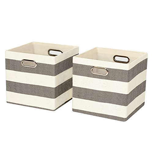 Closet Organizer-Collapsible Storage Baskets Cubes Bins Containers Boxes , 2 Cubeicals Fabric Drawers,Grey Beige