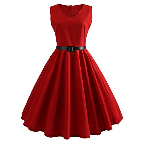 Womens Dresses Boatneck Sleeveless Vintage Tea Dress Belt 1950s Retro Cocktail Swing Party Dress by Chaofanjiancai Red ()