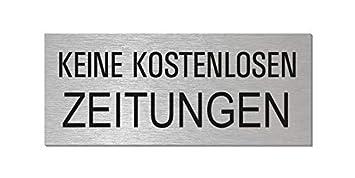 1 Stk. Keine Werbung 1 Stk Briefkasten-Schild- Aluminium Edelstahloptik 60 x 25 mm selbstklebend Keine kostenlosen Zeitungen