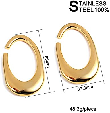 SUPTOP 2PC Ear Weight Stainless Steel Ear Hangers for Stretched Ear Heavy Gauges for Ear Dangle Plugs and Tunnels Stretching Kit