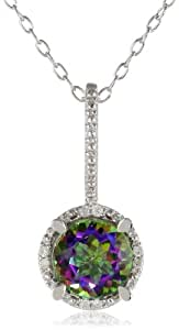 Sterling Silver Diamond and Green Mystic Topaz Pendant Necklace, (0.03 Cttw, G-H Color, I3 Clarity), 18""