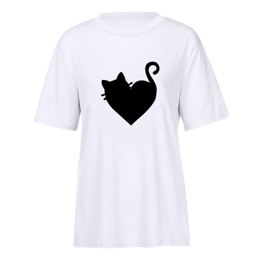 CUTUDE Chemisier Femme Manches Courtes T-Shirts Tops Chat Mignon en Forme de Coeur Polo Gilet Tunic Chemise Tunique