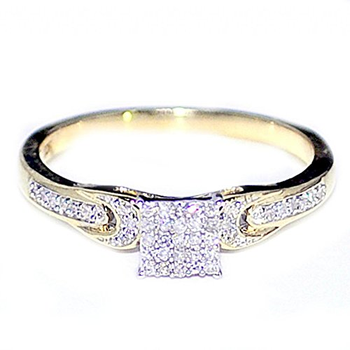 Diamond Engagement Promise Ring 0.14cttw 10K Gold Square Shaped (I/j Color 0.14cttw)