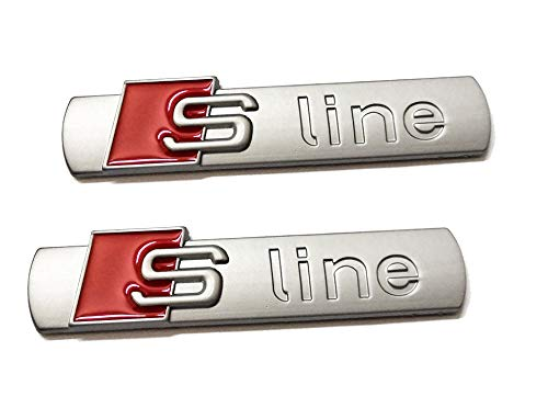 Black 2x Sline Quattro Supercharged Emblem Badge Side Fender Sticker