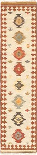 eCarpetGallery Hand woven Anatolian Kilim 2-Feet 6-Inch by 10-Feet 0-Inch Wool Kilim, Brown, Cream