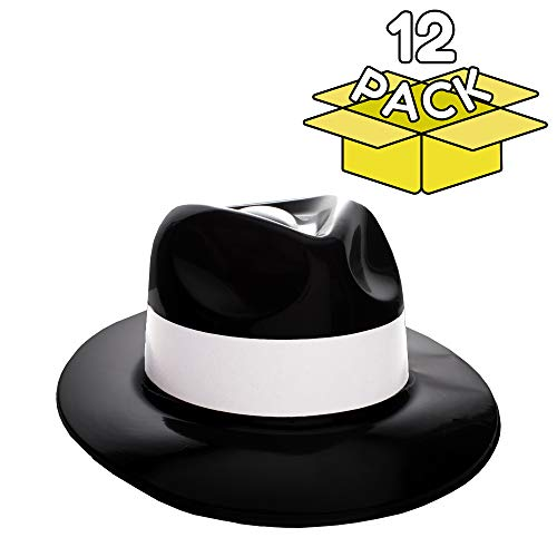 Windy City Novelties Gangster Hat Fedoras (Black with White Band) -