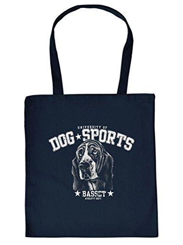 Umweltfreundliche Baumwolltasche - Basset - Ein Must-have für Tierliebhaber. Top Geschenkidee - Hunde - Navy Blau
