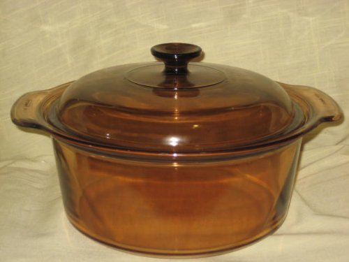 Vintage Corning Ware Visions Ware 5 Quart Amber Dutch Oven Pot w/ Lid - Made In USA by CORINGWARE-PYREX
