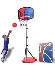 HAHAKEE Basketbal Hoop voor Kids Set, Verstelbare Draagbare Basketbalset, Kids Basketbal Stand Sport Spelen Set Net, Bal, Luchtpomp