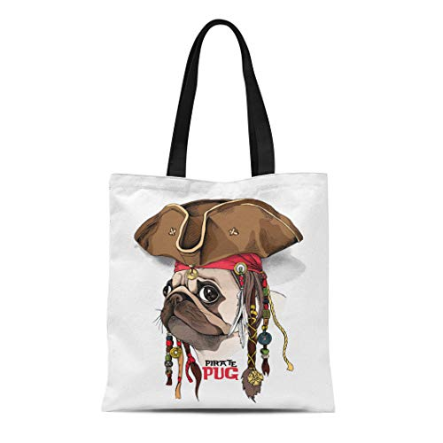 (Semtomn Canvas Bag Resuable Tote Grocery Adorable Shopping Portablebags Brown Dog Portrait of Pug in Pirate Hat Bandana Dreadlocks Fun Natural 14 x 16 Inches Canvas Cloth Tote)