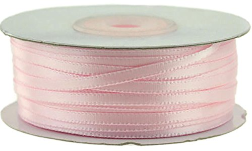 """Custom & Fancy {0.1"""" Inch Width - 100 YDS} 1 Pack of Thin Strand """"Double Faced"""" Ribbon for Decorations & Gift Wrap Made of Satin w/ Light Modern Baby Shower Girls Basic Shiny Style [Pastel - Ribbon Fancy Girl"""