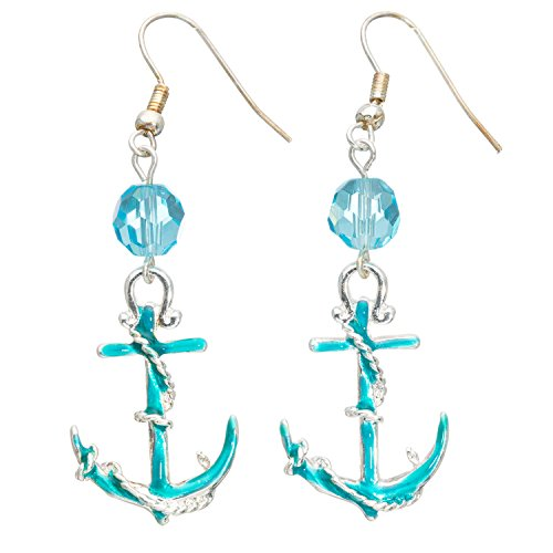 [Silver Nautical enameled Anchor Rope blue crystal beads earrings with gift bags] (Crystal Rope Earrings)