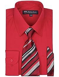 Fortino Landi Men's Long Sleeve Dress Shirt, Tie And Hanky Set - Many Colors