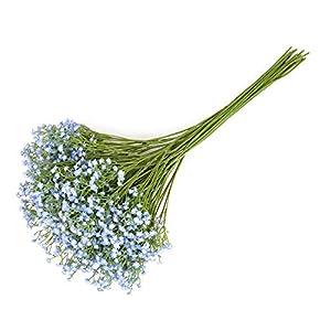 Yunuo 12PCS Artificial Baby Breath/Gypsophila Silk Flower Wedding Bridal Bouquet Home Party Decor Gift (Light Blue) 2