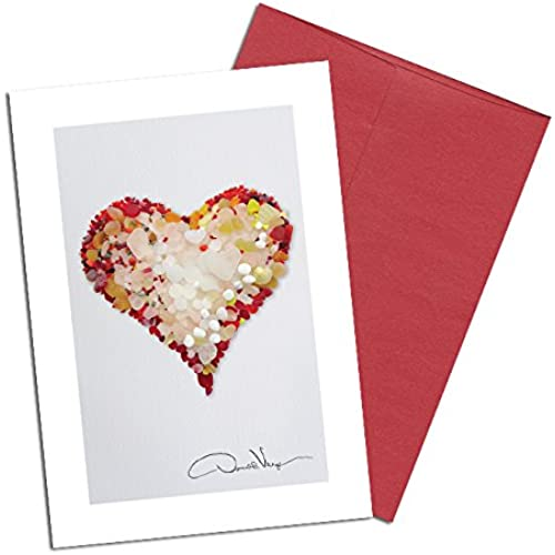 Rare Red Valentines Day Sea Glass Heart Note Cards. Love. 3.5x5. 8 Best Quality,Blank Folded Cards Matching Envelopes Sales
