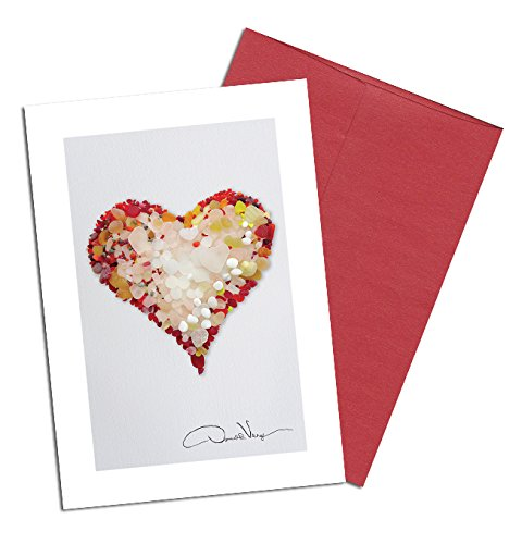 Rare Red Valentines Day Sea Glass Heart Note Cards. Love. 3.5x5. 8 Best Quality,Blank Folded Cards Matching Envelopes. Unique as Thank You Notes, Invitations & - 2014 Most Glasses Popular