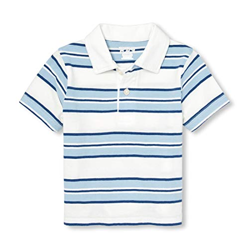 The Children's Place Baby Boys Short Sleeve Printed Polo, Ocean Front, -