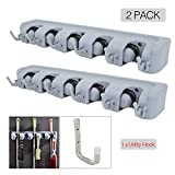 OVOV 2 Pack Mop and Broom Holder Wall Mounted Garden Storage Garage Tool Organizer with Heavy Duty Steel Utility Hook (Grey-Black)