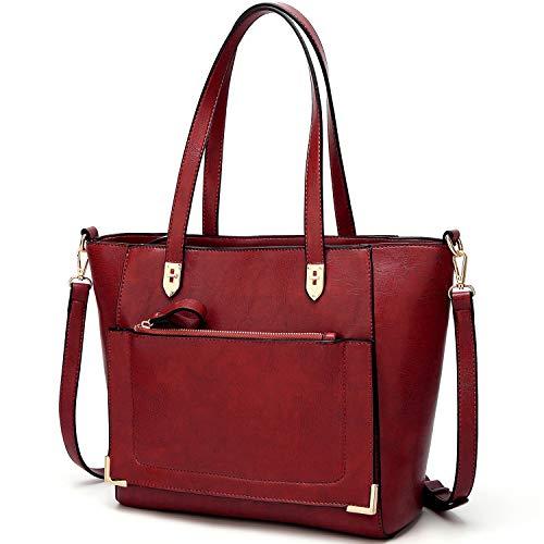 YNIQUE Women Top Handle Handbags Satchel Purse Tote Bag Shoulder Bag, Wine, Medium