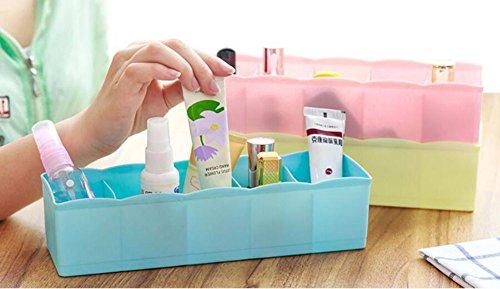Hosaire Storage Box Multi-function Five Grid Plastic Underwear Sock Ties Separator Organizer Case Desk Drawer Closet Organizer ,Set of 3 Color by Hosaire (Image #3)