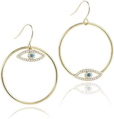 5e0bef19c6d9e COZLANE 14K Gold Evil Eyes Hoop Circle Drop Dangle Earrings CZ Pave Loop  Earring for Women