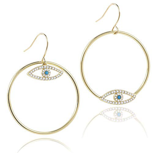 COZLANE 14K Gold Evil Eyes Hoop Circle Drop Dangle Earrings CZ Pave Loop Earring for Women Girls