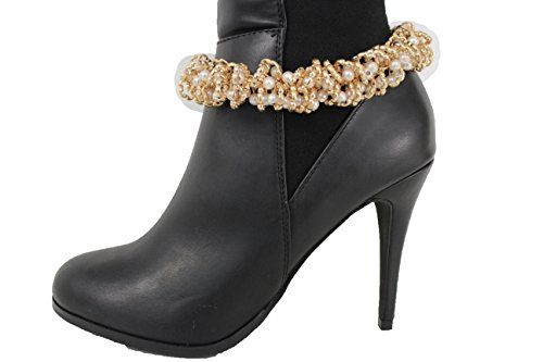 TFJ Women Boot Chain Bracelet Gold Shoe Nautical Style Charm Western Bling Anklet Imitation Pearl Beads