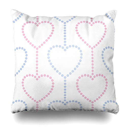 Ahawoso Throw Pillow Cover Wedding Anniversary Pink Blue Hearts Garlands in Dotted Valentines Day Beads Abstract Curve Design Decorative Sofa Cushion Case 20
