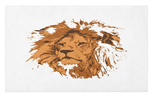 Lunarable Lion Doormat, Grunge Splash Drawn Animal King of Forest, Decorative Polyester Floor Mat with Non-Skid Backing,30