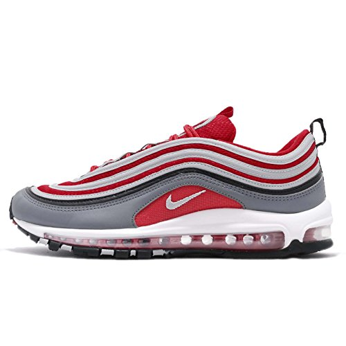 NIKE Men's Air Max 97, Dark GreyWolf Grey Gym RED, 8.5 M US