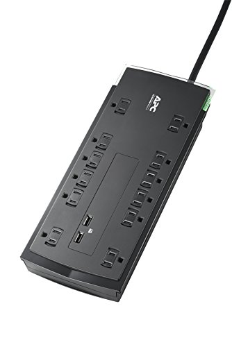 APC 12-Outlet Surge Protector Power Strip with USB Charging Ports, 4320 Joules, SurgeArrest Performance (P12U2)