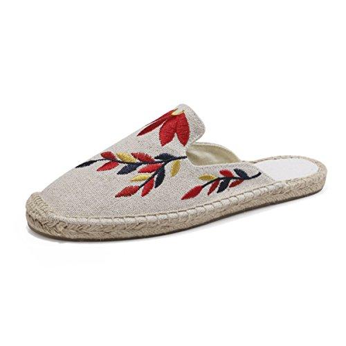 LaRosa Summer Slip On Slippers Embroidery Espadrilles Flats,Beige,7 B(M) by LaRosa
