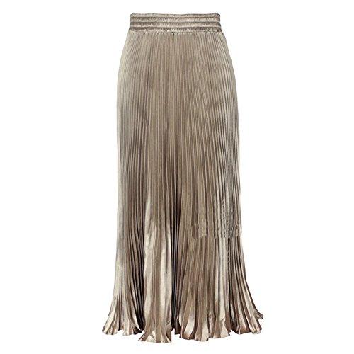 (LIYT Women's Fashion Metallic Luster Pleated Long Skirts)