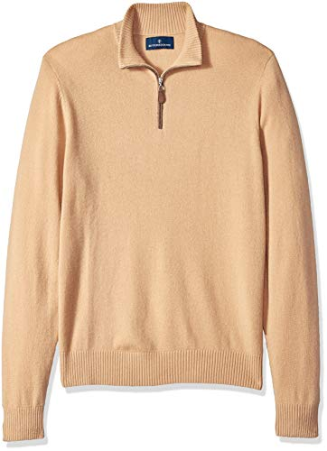100% Premium Cashmere Quarter-Zip Sweater, Camel, Large ()