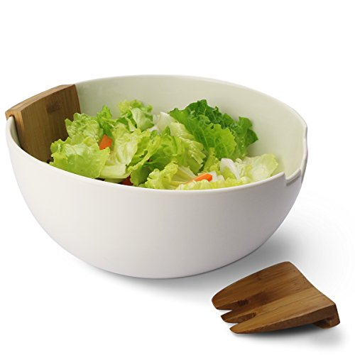 Sweese Porcelain Salad Bowl with Bamboo Serving Hands