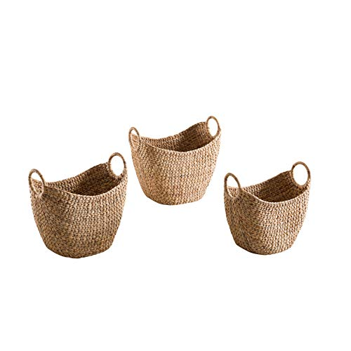 - Abington Lane Set of 3 Water Hyacinth Baskets with Handles - Decorative Baskets Different Sizes Accent to Living Room Bedroom Family Room (Light Brown)