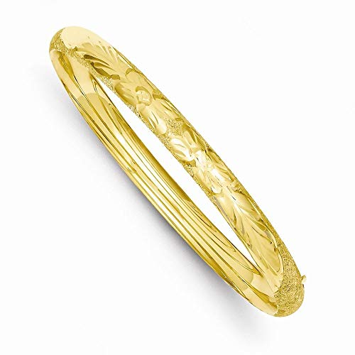 14K Yellow Gold 3/16 Oversized Laser Cut 5 MM Hinged Bangle, 8