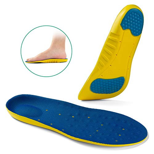 (OptiFeet Soft Non Arch Support Shoe Inserts for Men & Women Shock Absorption Insoles Non-Slip for Sport)