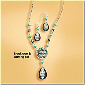 Avon Turquoise colored and Brown Medallion Necklace Gift Set