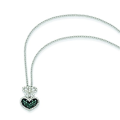 Argent sterling Bleu et Blanc Brut Diamant Pendentif Cœur et nœud