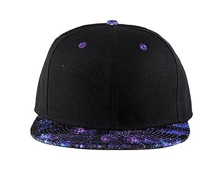 6d07e7cdc15 Quanhaigou Purple Galaxy Snapback Hat Unisex Trucker Hat Hip Hop Plaid Flat  Bill Brim Adjustable Baseball Cap