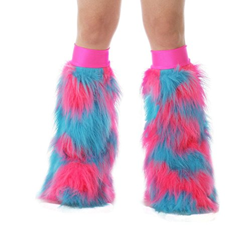 TrYptiX Women's Fluffy Leg Warmers Hot Pink Turquoise One Size PinkKneebands (Pink Fluffies Leg Warmers)