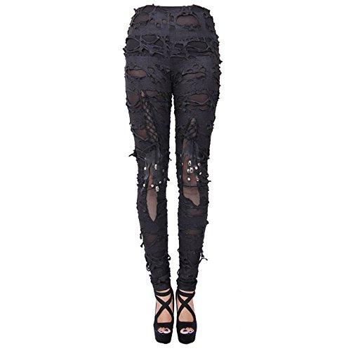 Devil Fashion England Street Gothic Slim Thin Elastische Mode Leggings für Frauen (L)