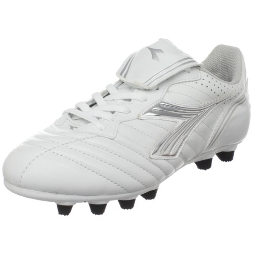 Diadora Women's Scudetto LT MD PU Soccer Cleat,White/Silver/Black,9  M US