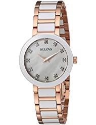Bulova Womens Quartz Ceramic and Stainless Steel Casual Watch, Color:Two Tone (Model: 98P160)