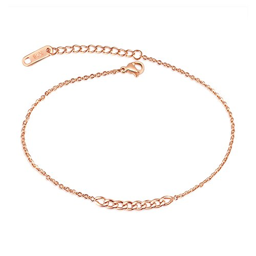 OPK Simple Women Anklet for Beach Barefoot Wearing, Sexy Rose Gold, 10.24??