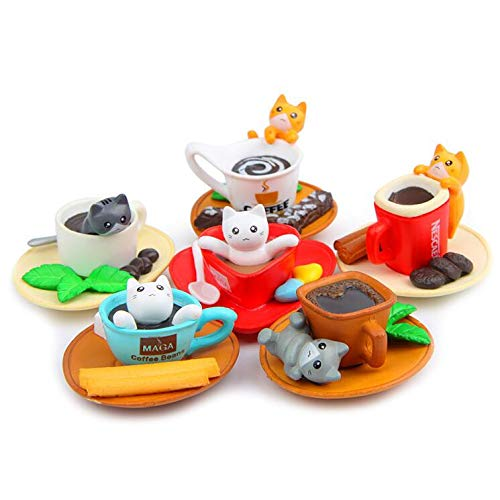 6pcs/Set Lovely PVC Kitten Cat Action Figure Toys DIY Home Decor Children Collect Toys Birthday Gifts ()