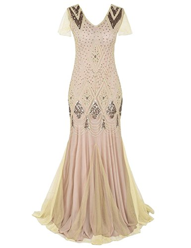 Blue Halo Women 1920s Long Prom Gown Flapper Cocktail Mermaid Beaded Sequin Art Deco Formal Evening Dress with Sleeve Beige S