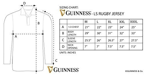 Guinness Men's Traditional Rugby Jersey XL Black